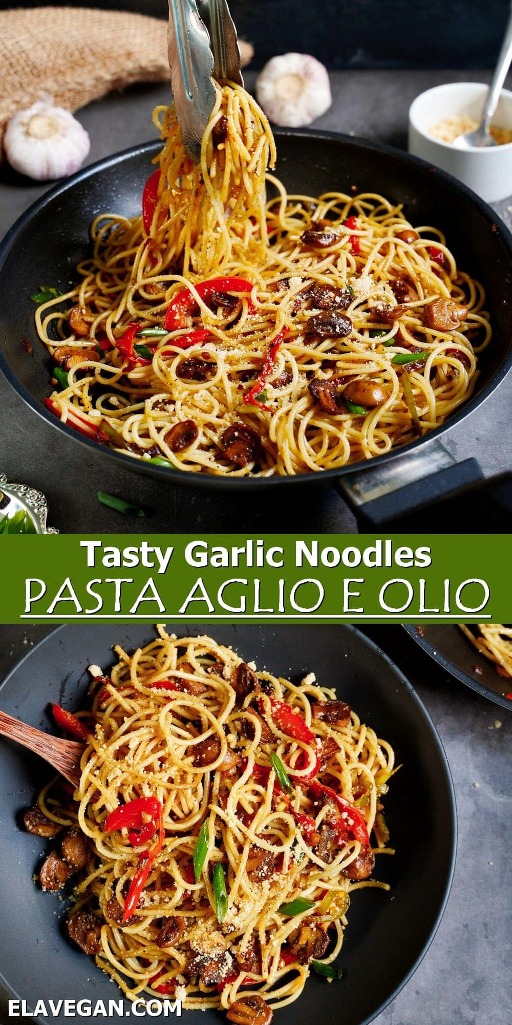 Pinterest collage tasty garlic noodles pasta aglio e olio