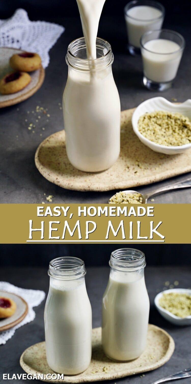 collage easy homemade hemp milk