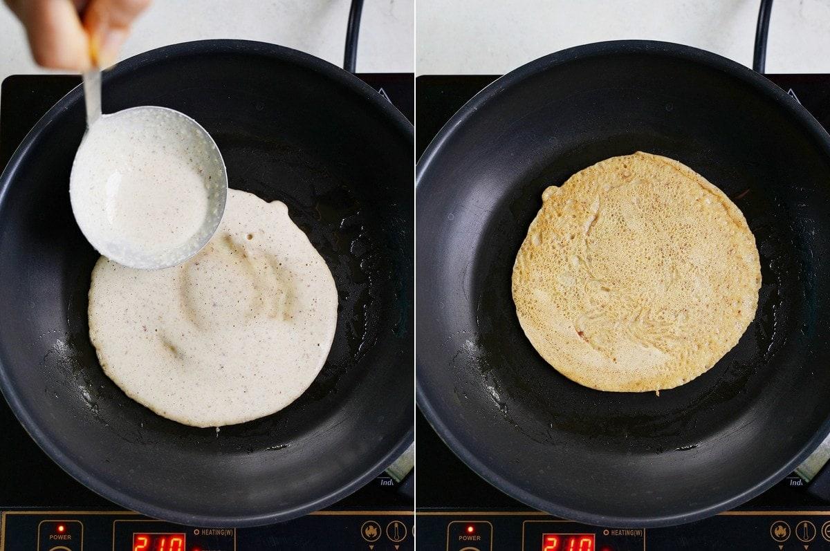 Zubereitung von einem Crepe in einer schwarzen Pfanne
