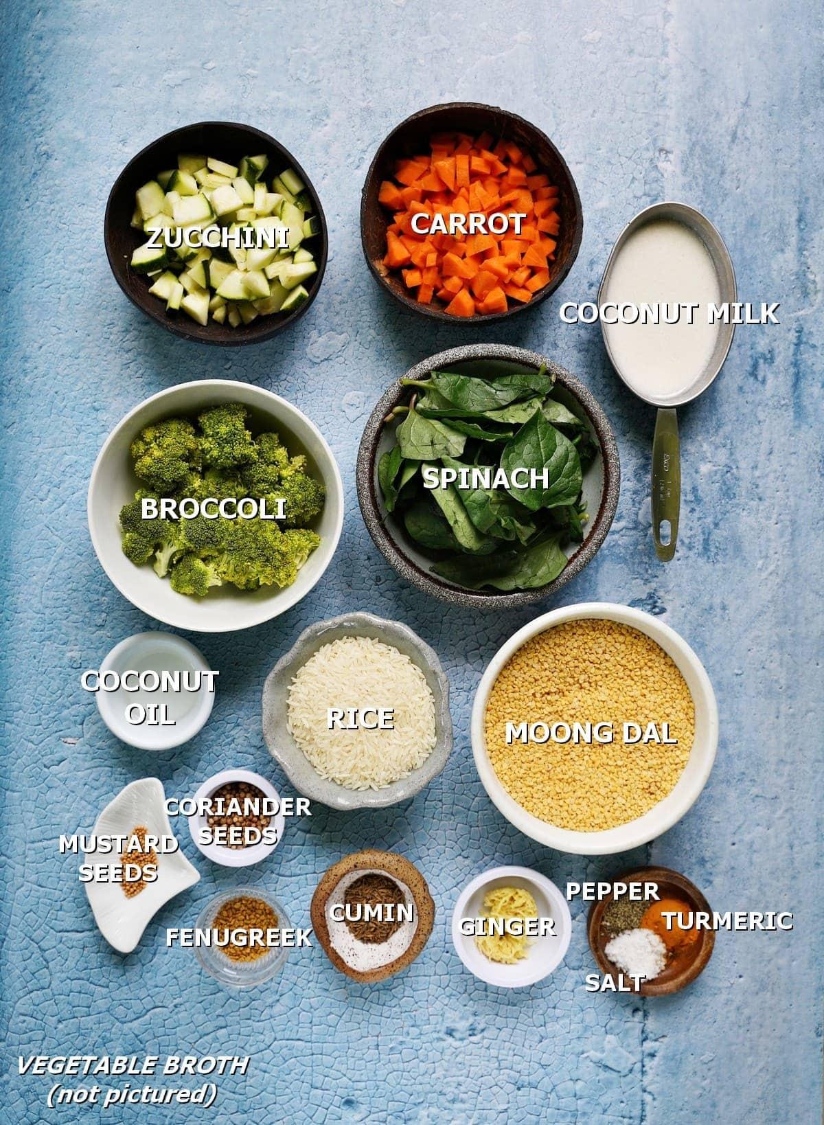 ingredients for ayurvedic moong dal dish