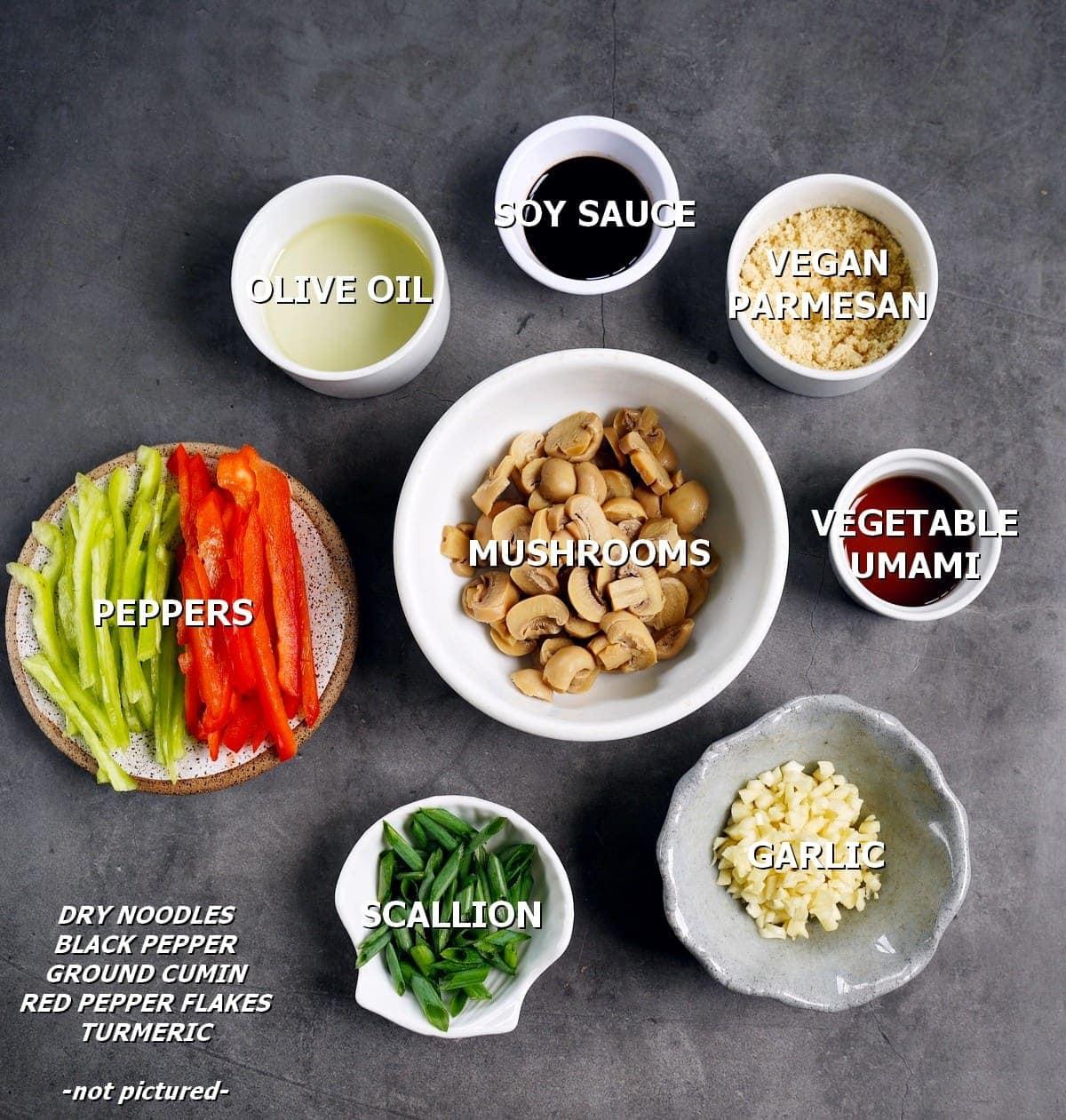 ingredients for garlic noodles
