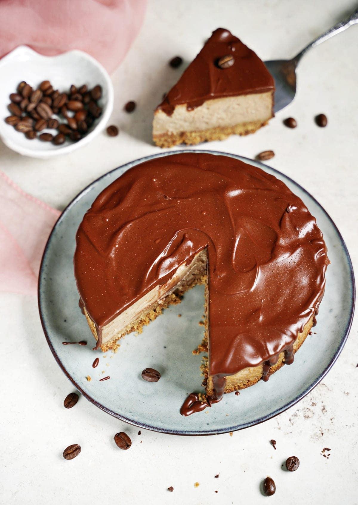 Mokkakuchen von oben mit Schokoladenganache