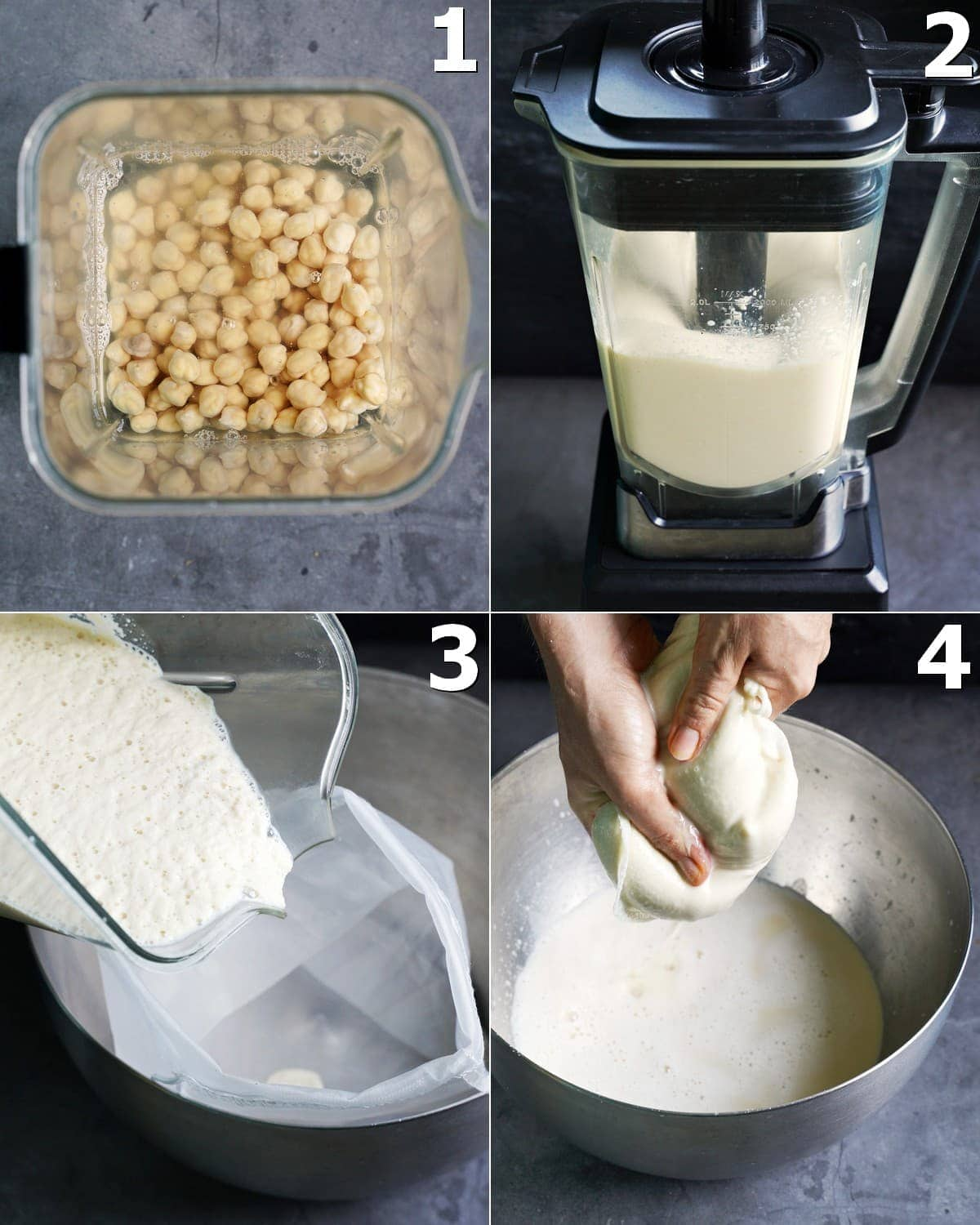 4 step-by-step photos how to blend soaked chickpeas and strain them