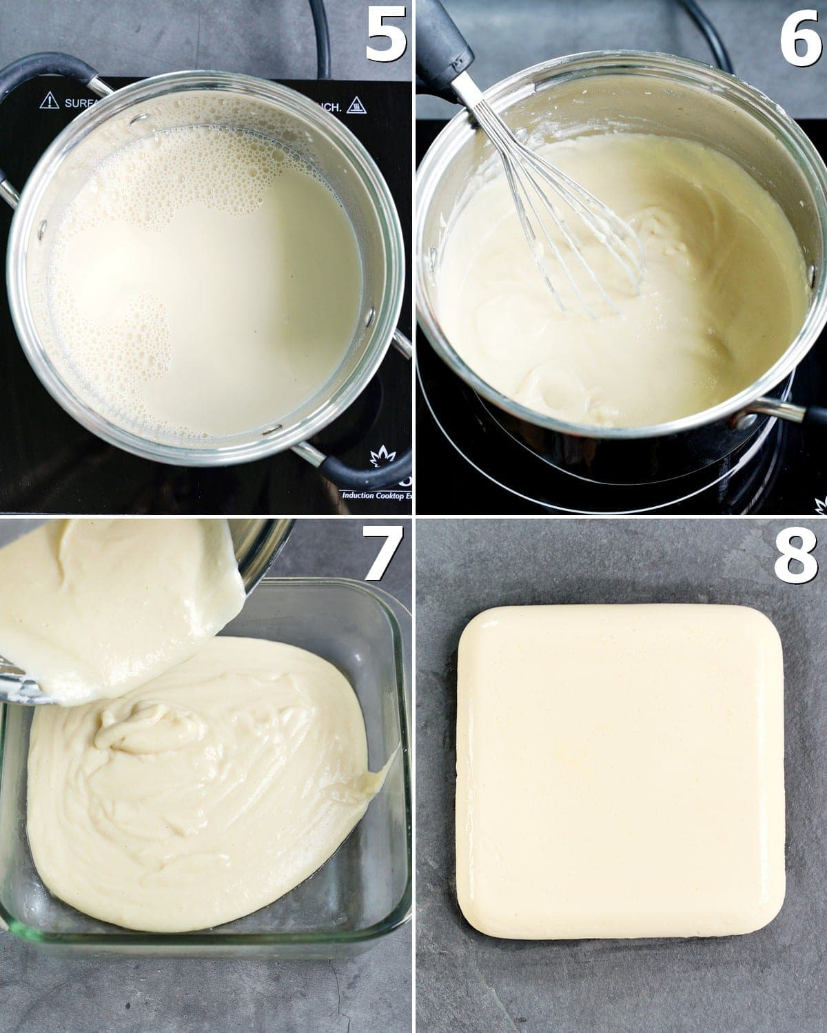 4 step-by-step photos how to cook milk from chickpeas and let it set in a pan