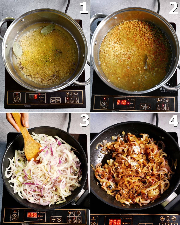 4 Schritt-für-Schritt-Fotos, wie man Reis und Linsen mit karamellisierten Zwiebeln zubereitet