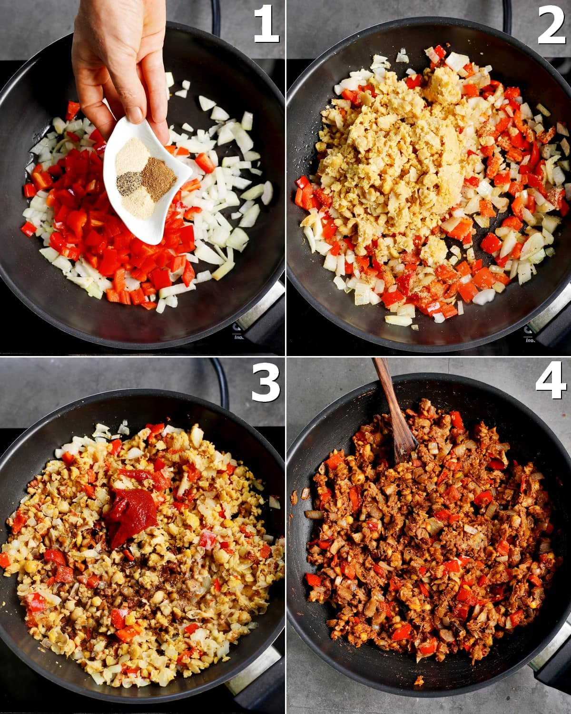 4 Schritt-für-Schritt-Fotos, wie man Gemüse und Kichererbsen in der Pfanne zubereitet