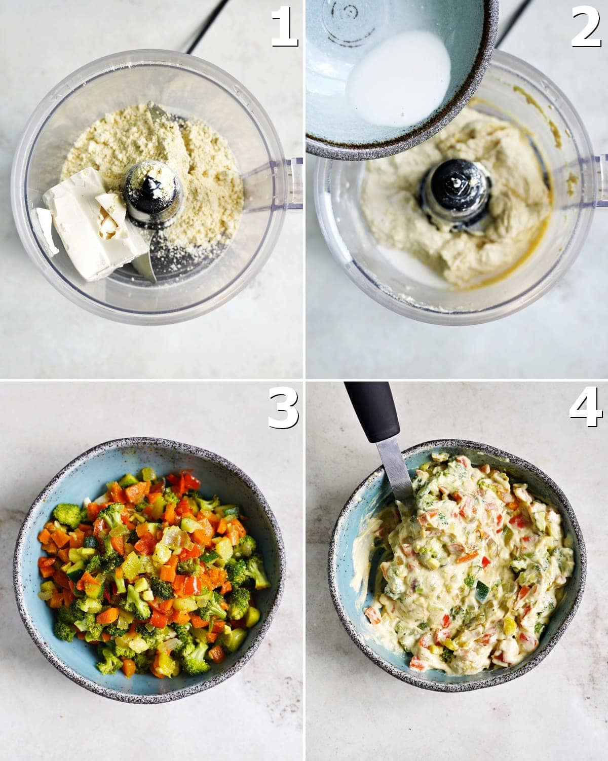 4 step-by-step photos how to make a hearty muffin batter