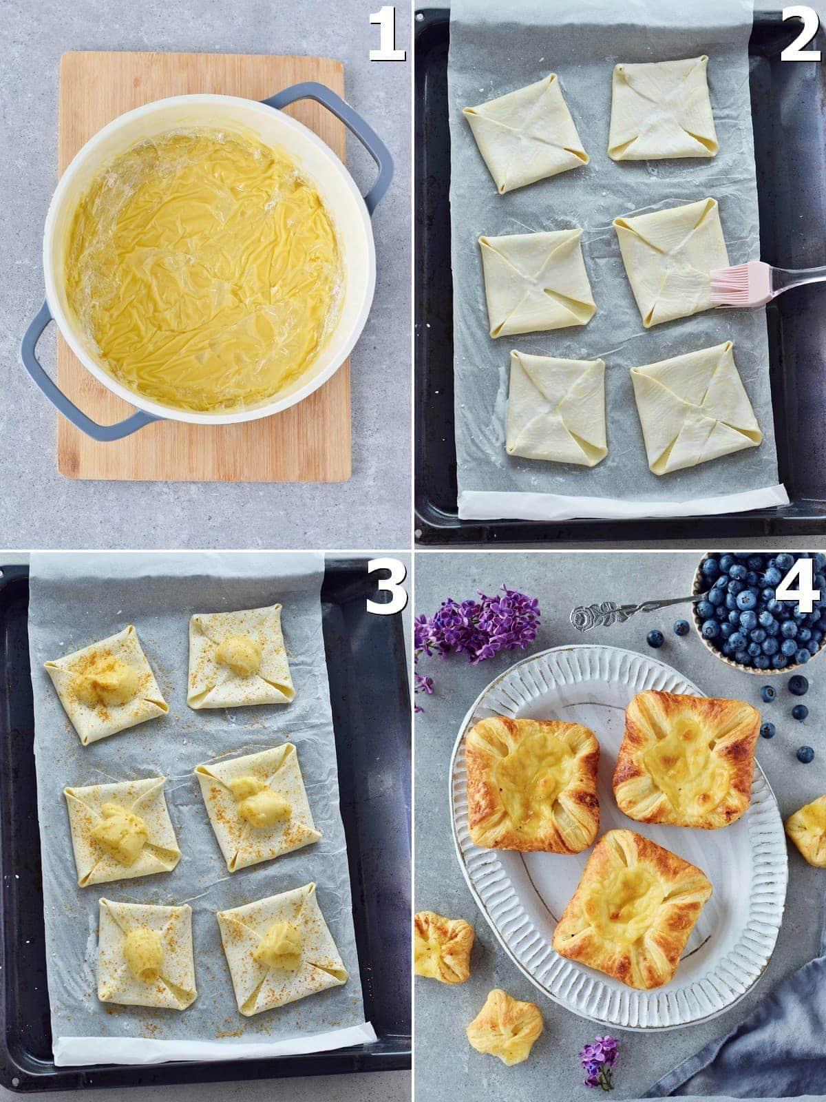 4 Schritt-für-Schritt-Fotos für die Zubereitung von Puddingplunder mit Blätterteig