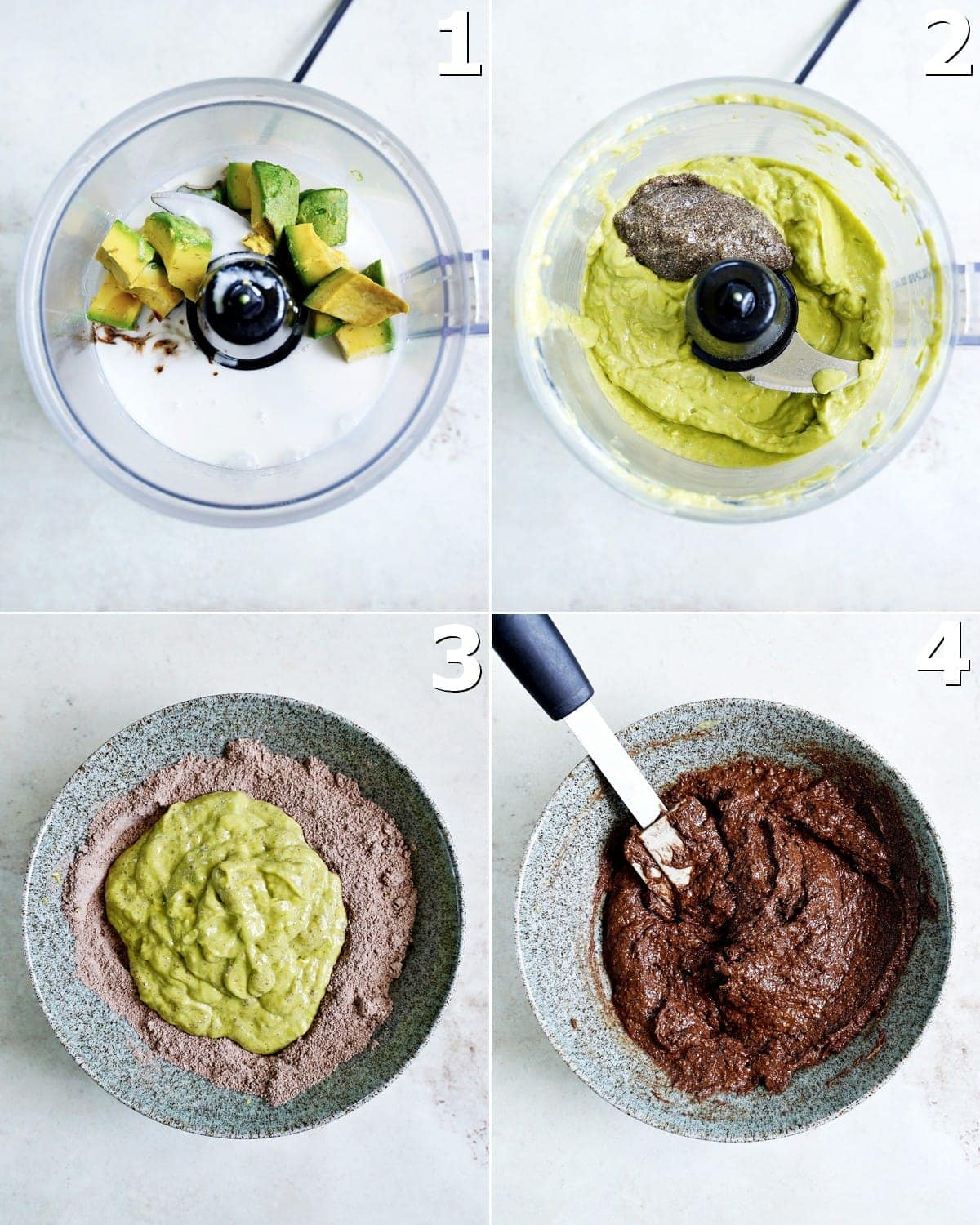 4 step-by-step photos of blending avocado with wet ingredients and combining wet and dry in bowl