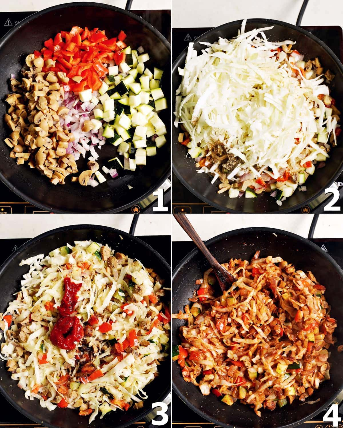4 step-by-step photos of how to cook the filling in a black skillet