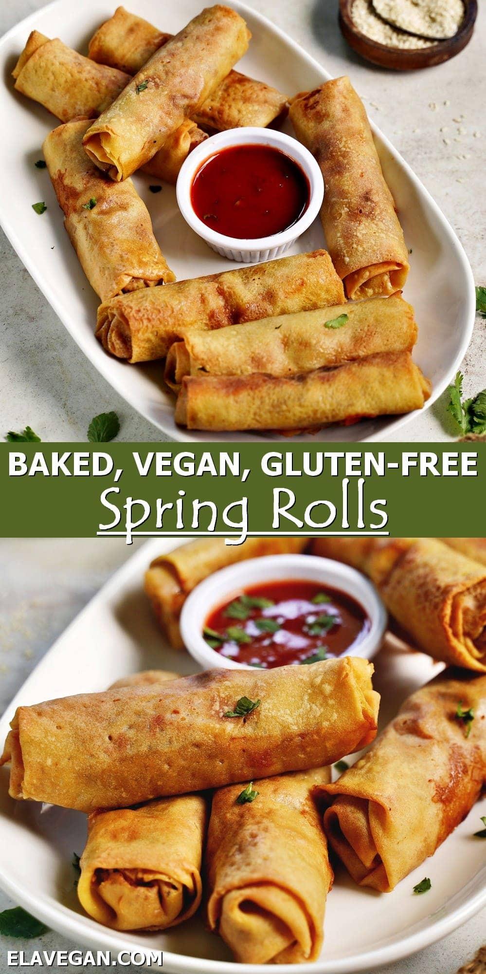 Pinterest Collage baked vegan gluten-free spring rolls