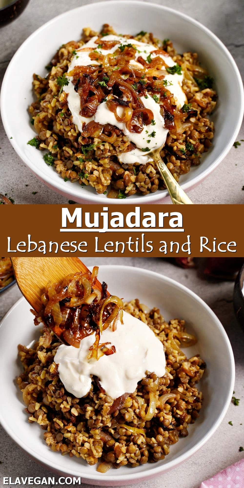 Pinterest Collage mujadara Lebanese lentils and rice