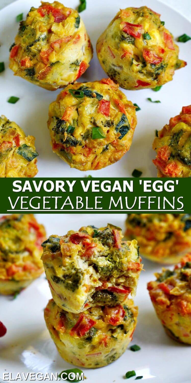 Pinterest Collage savory vegan egg vegetable muffins