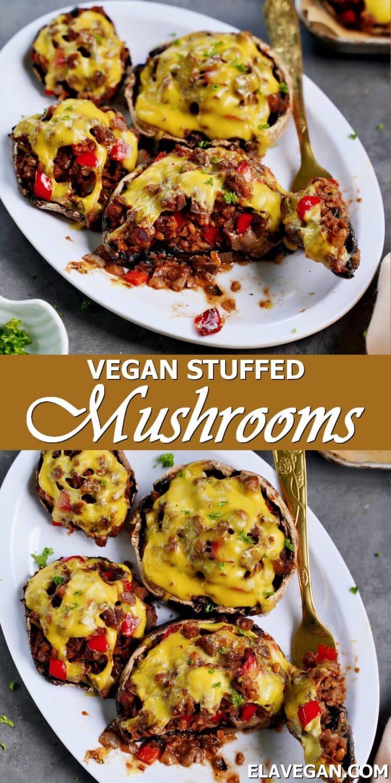 Pinterest Collage vegan stuffed mushrooms