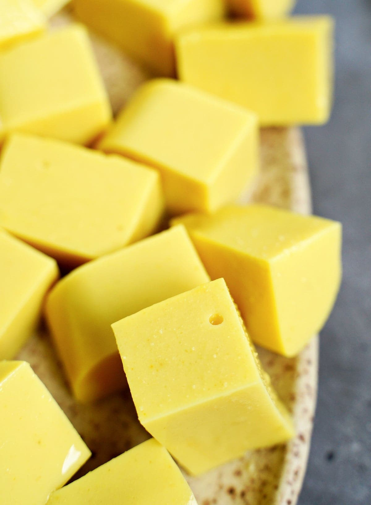 close-up of yellow chickpea tofu cubes