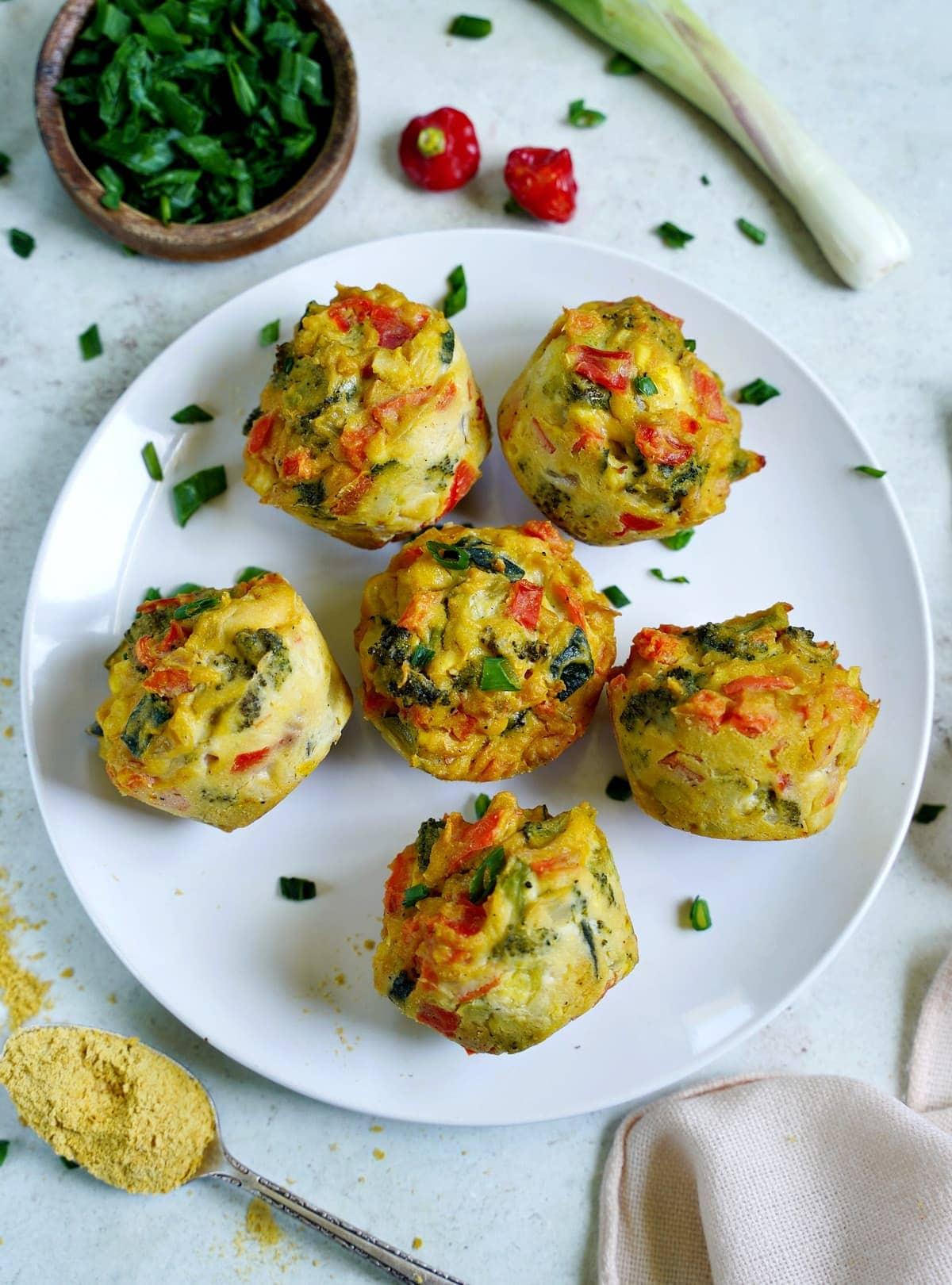 egg-free veggie mini quiches on white plate
