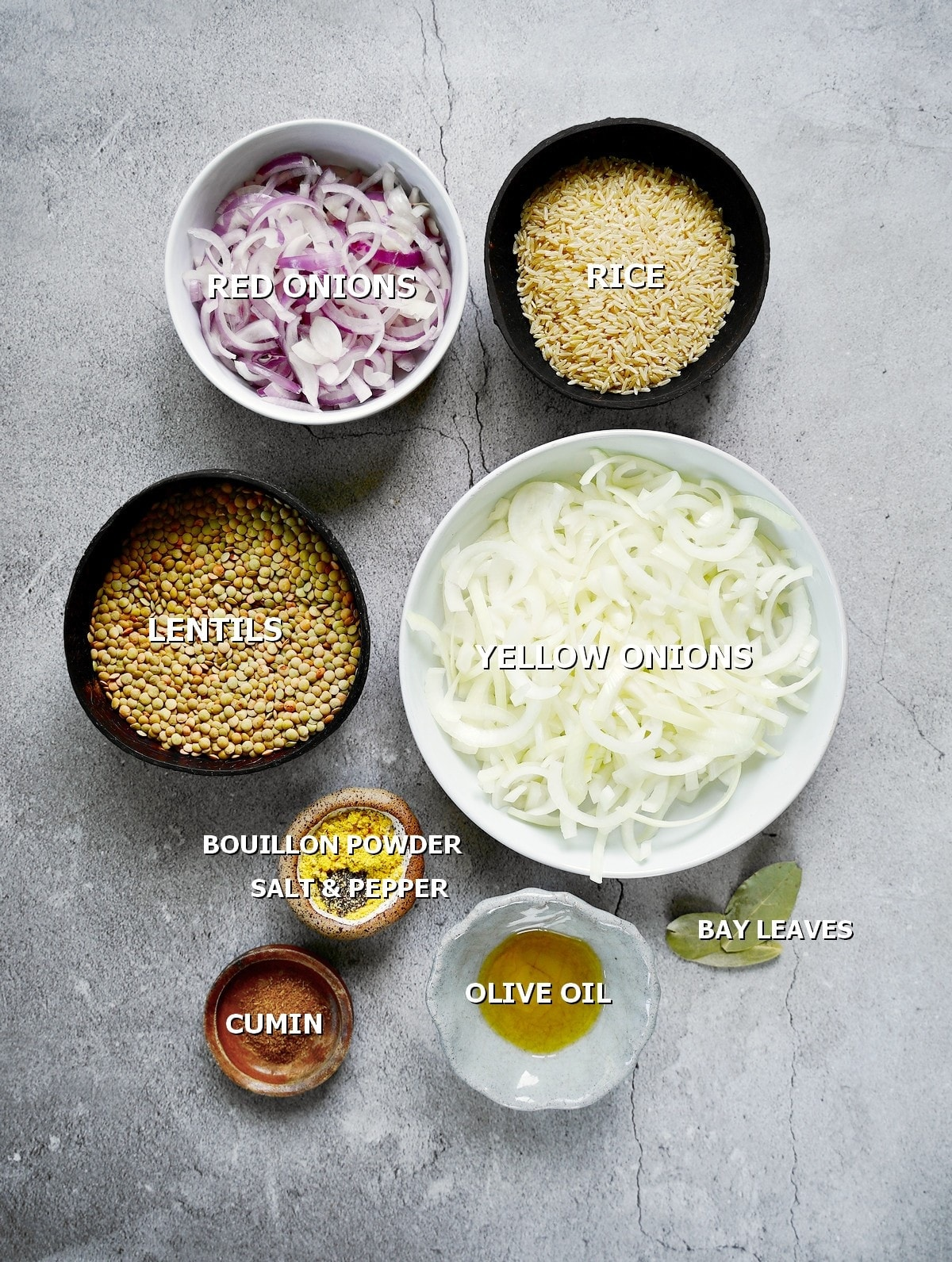 ingredients for Lebanese lentils and rice