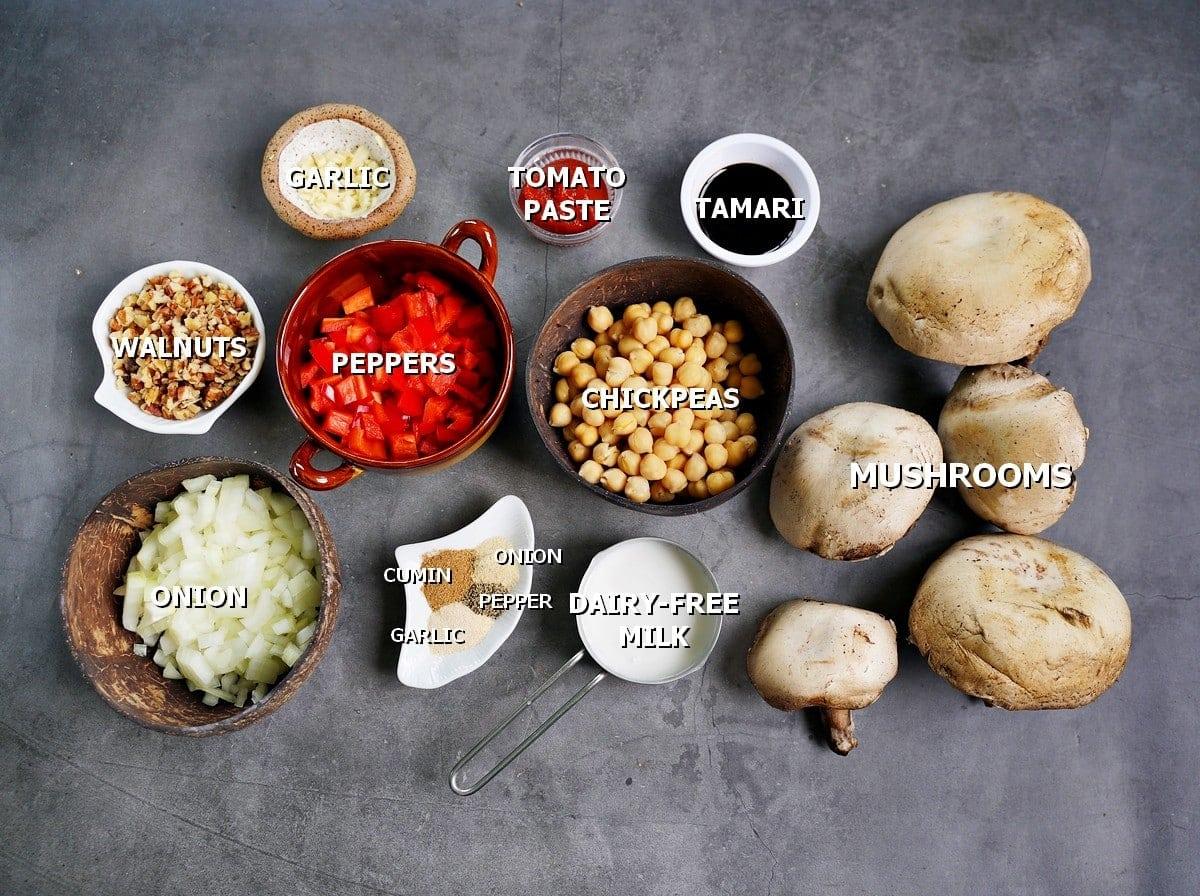 ingredients for stuffed portobello mushrooms