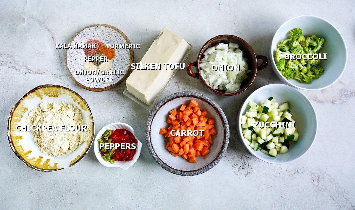 ingredients for vegan egg muffins