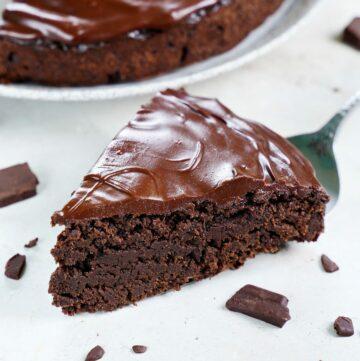 one piece of avocado chocolate cake with ganache