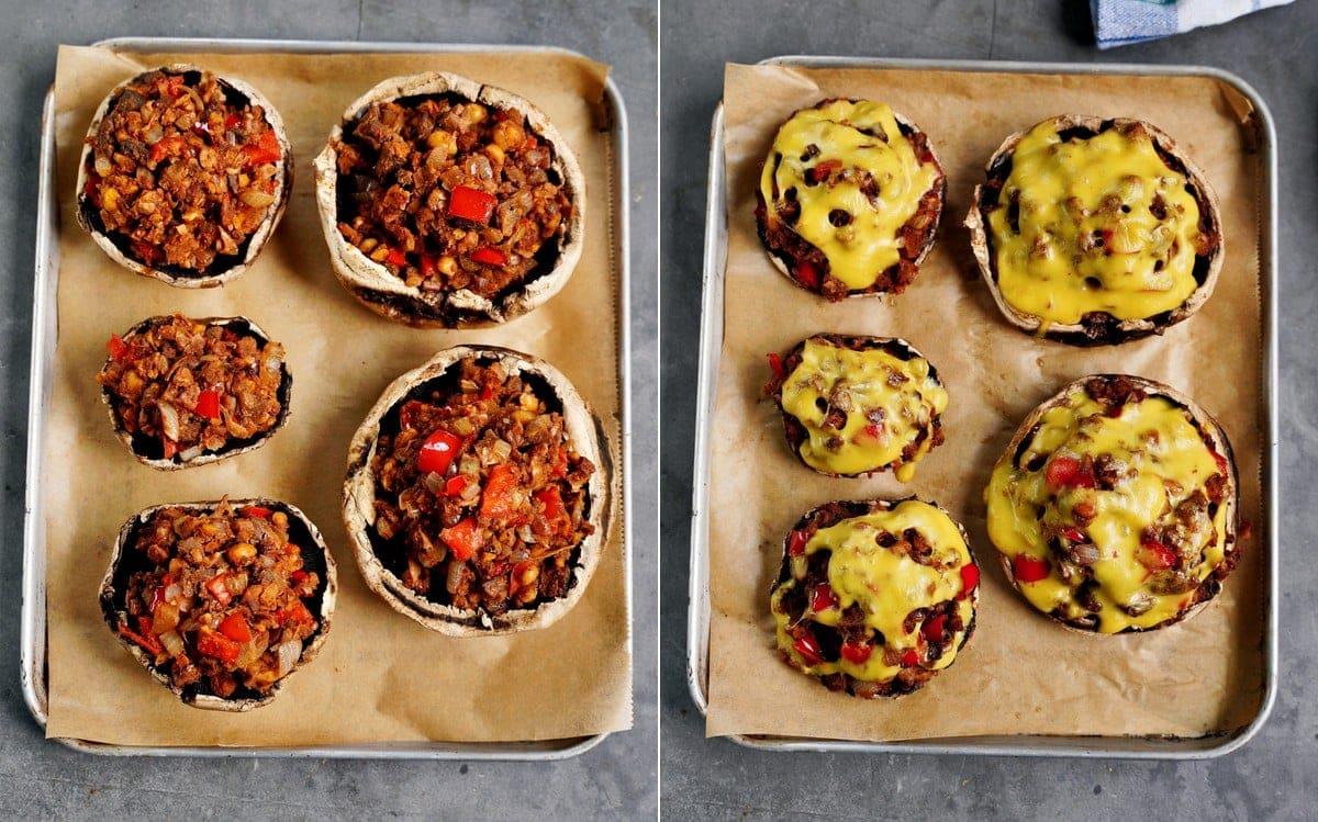 Portobello-Pilze vor und nach dem Backen auf Backblech