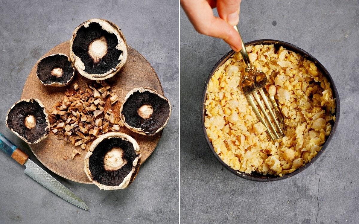 Portobello-Pilze mit gehackten Stielen und pürierten Kichererbsen