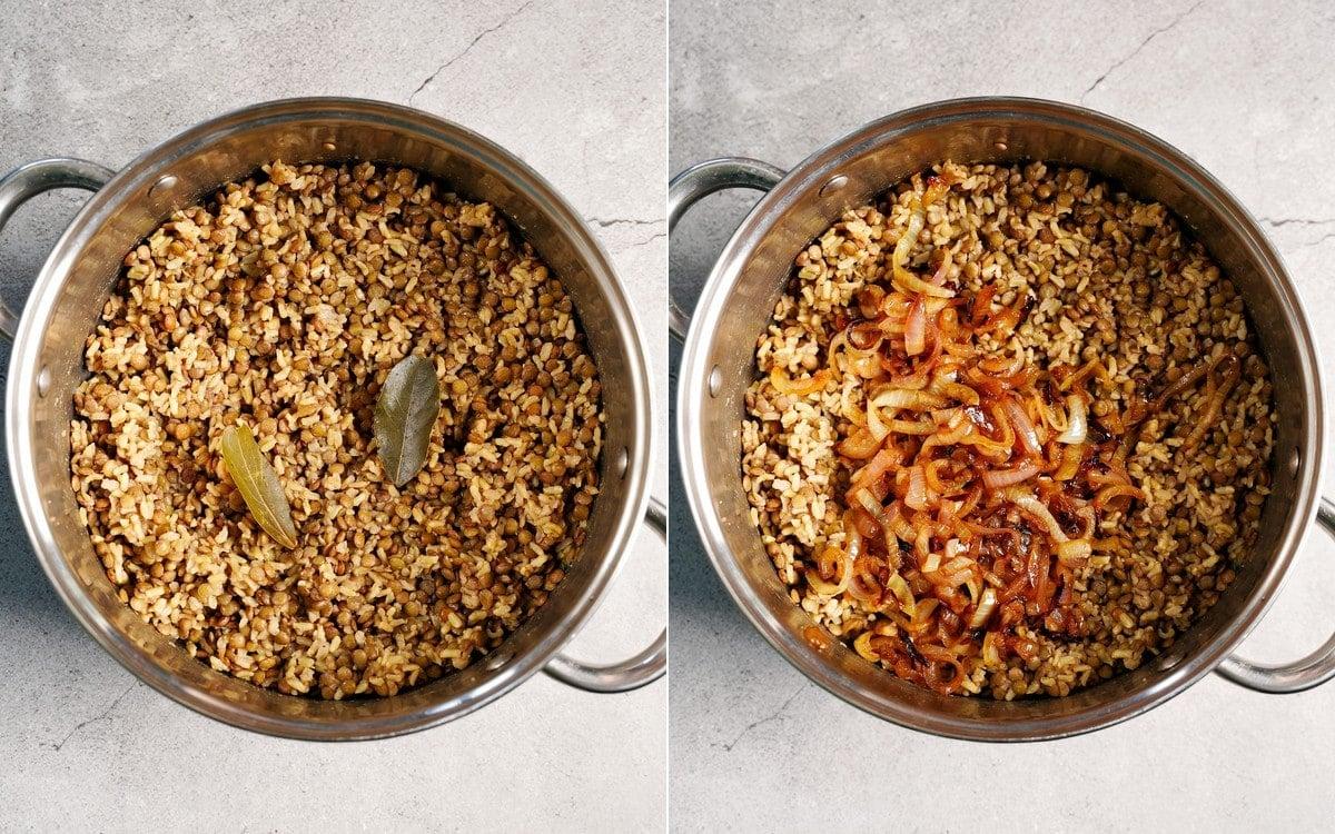 Reis und Linsen in einem großen Topf vor und nach dem Hinzufügen der karamellisierten Zwiebeln