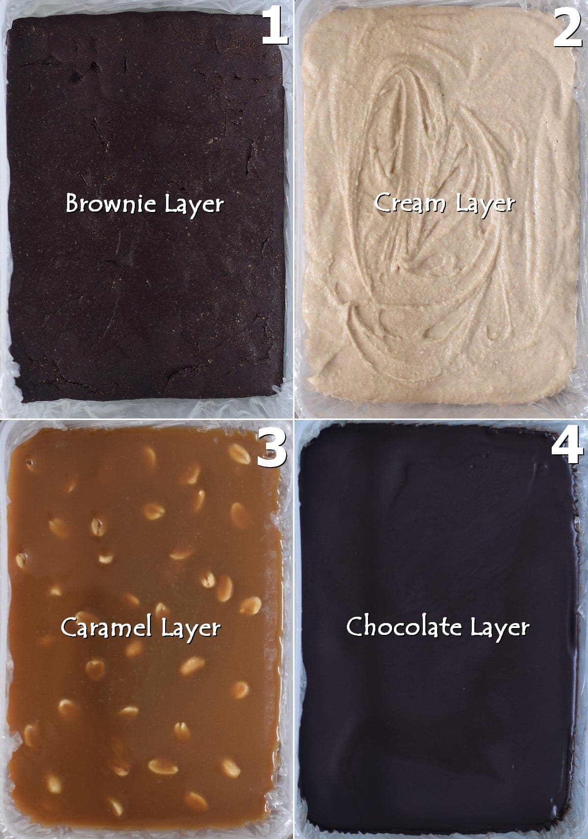 step-by-step photos how to make the 4 layers