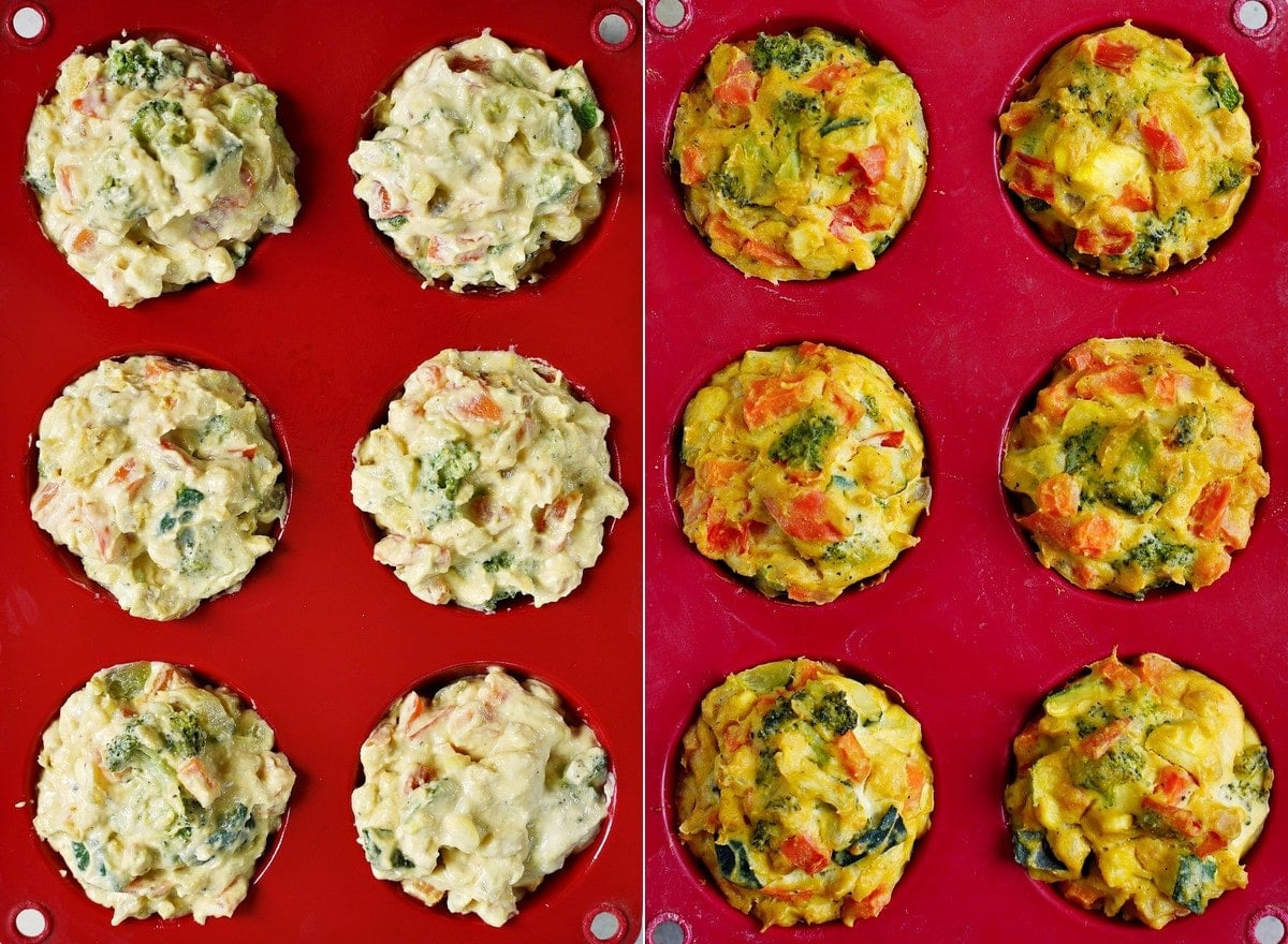 vegan egg muffins before and after baking