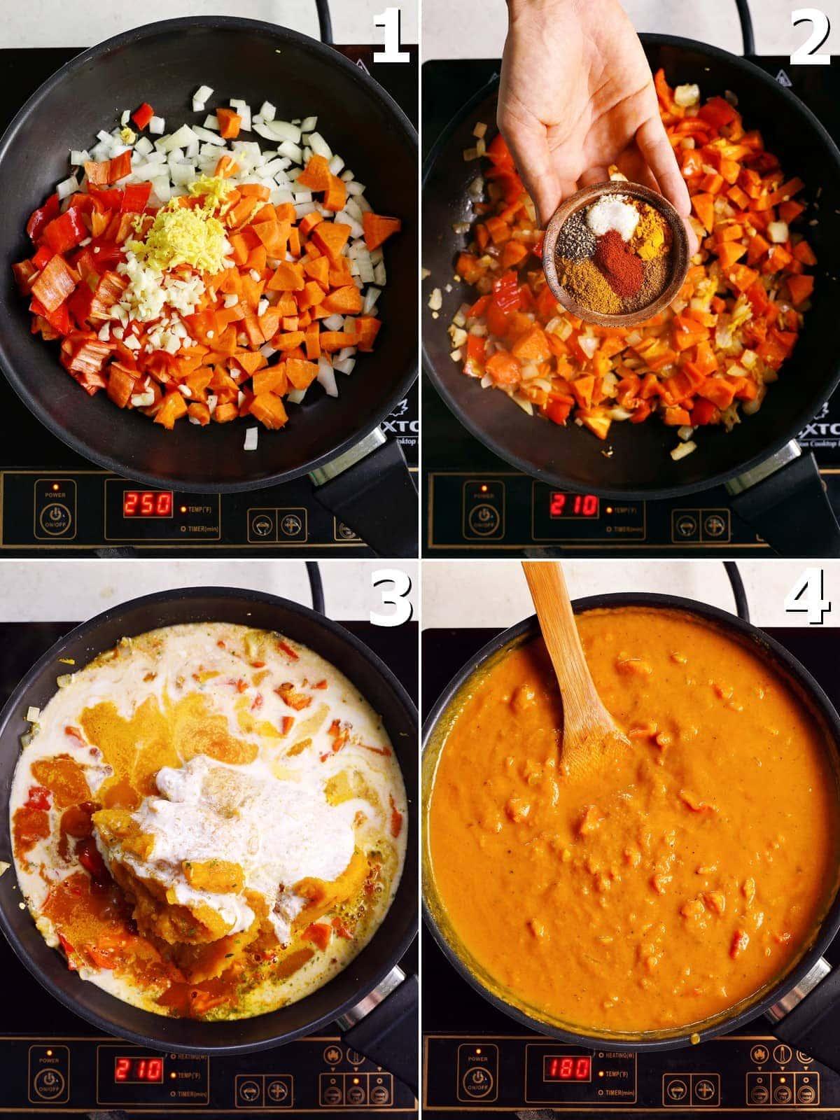 4 Schritt-für-Schritt-Fotos, wie man veganes Curry mit Gemüse kocht