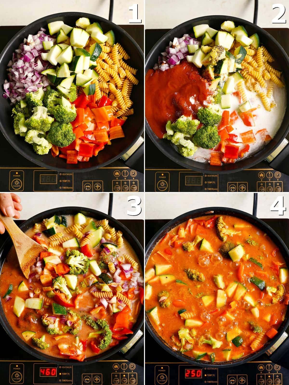 4 Schritt-für-Schritt-Fotos wie man ein veganes Nudelgericht in einer schwarzen Pfanne zubereitet