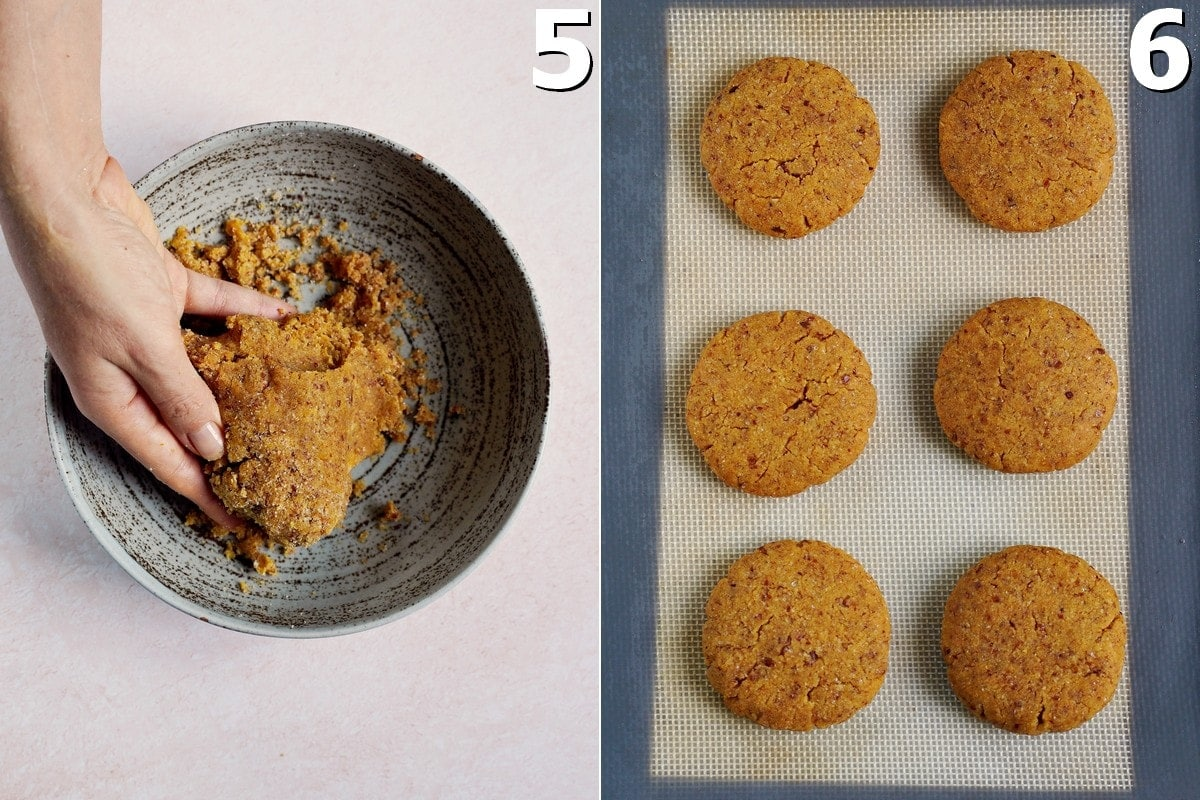 gluten-free cookie dough in bowl and baked cookies on silikon mat