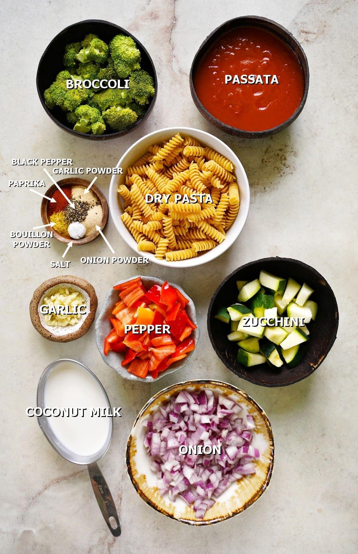 ingredients for vegan pasta dish